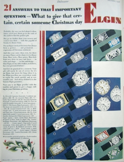 Ad for Elgin watches, December 1928.