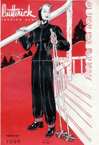 1940s ski resort illustration - Butterick Fashion News February 1940