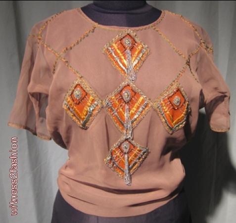 front vintage beaded blouse