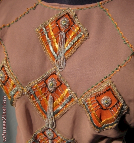 Appliques, silk embroidery, beads and tassels