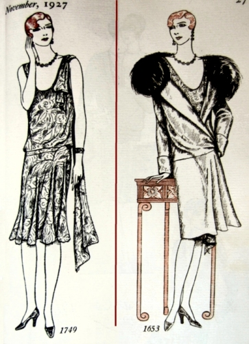 Butterick dress pattern # 1749 and Evening Coat pattern # 1653, November 1927, Delineator