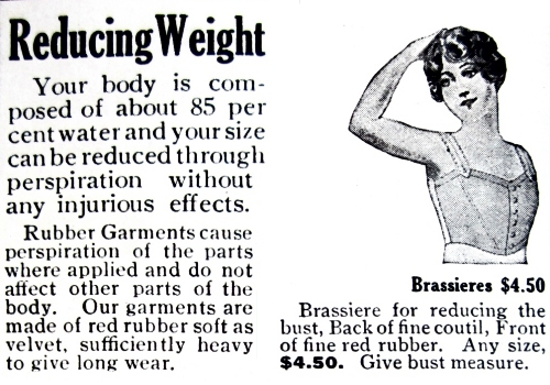 The Bailey rubber reducing brassiere. Ad from Delineator, July 1918.