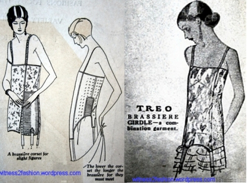 1924 Brassiere Corset combination, 1924 Long Brassiere 1925 Treo Brassiere Girdle Combination Garment Ad. All from Delineator magazines.