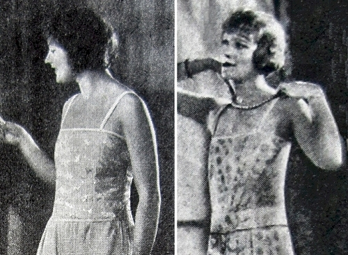 Ads for De Bevoise Bandeaux, May & April 1925. Both are made of stiff corset material; the one on the right is boned and designed to flatten a more mature figure.