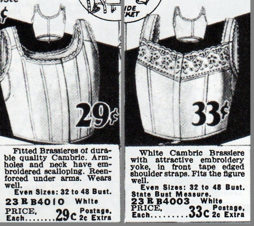 Old-fashioned brassieres from a 1928 Sears catalog would have appealed to older women.