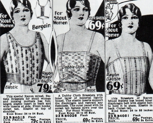 "Brassieres for ""stout women"" from a Sears catalog, 1928-29. From Everyday Fashions of the Twenties, p. 130."
