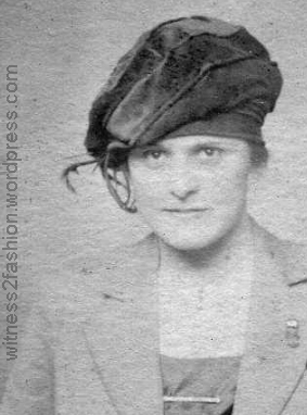 Young woman in a fashionable velvet tam, about 1918.