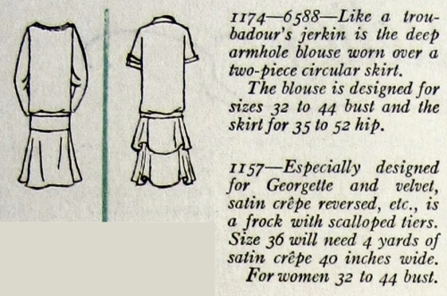 Back views and description of Butterick 1174 and 1157, Dec. 1926.