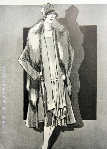 Original model by Frances Clyne, in green and gray. Delineator, Dec. 1926.