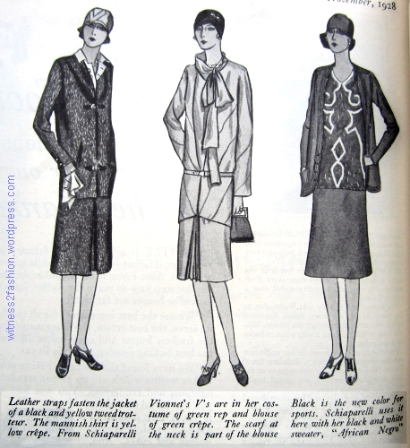 Clothing from Schiaparelli, Vionnet, and Schiaparelli, drawn and published in November, 1928. Delineator Magazine.