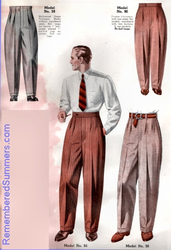 Trousers, 1930, from a menswear catalog. Courtesy of Remembered Summers.