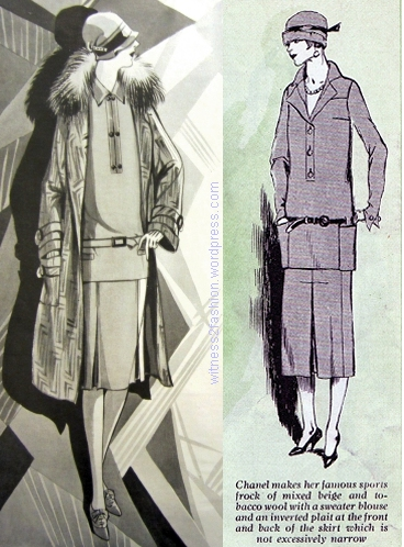 Butterick patterns, Dec. 1926; A Chanel suit, January 1925. Both  illustrations are from Delineator.