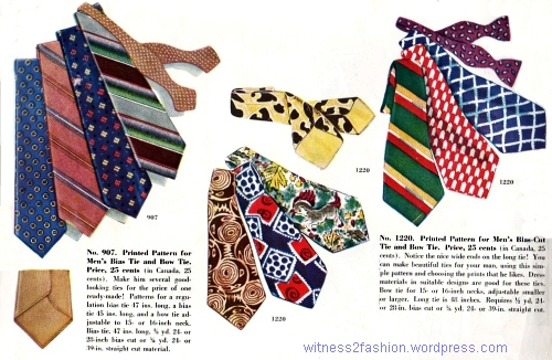 Necktie Patterns, December 1946. McCall #907 (left) and #1220 (center & right). Store catalog.