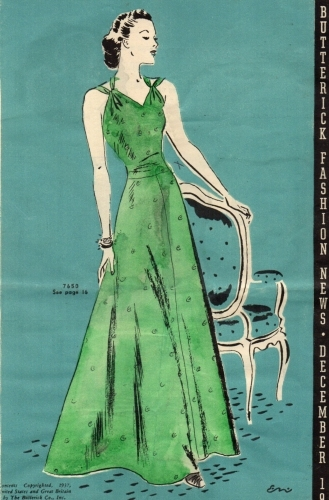 Butterick pattern 7650, December 1937. Cover, Butterick Fashion News flyer.