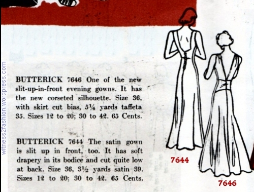 Pattern descriptions and back views, Butterick 7644 and 7646.