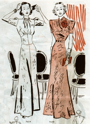 "No. 7624 (left) and 7628 (right) were ""Glamour for Night."" Butterick Fashion flyer Dec. 1937."