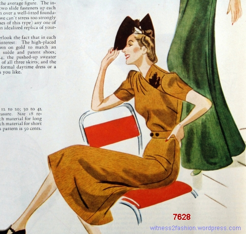 A formal day dress version of Companion-Butterick pattern 7628, Nov. 1937.
