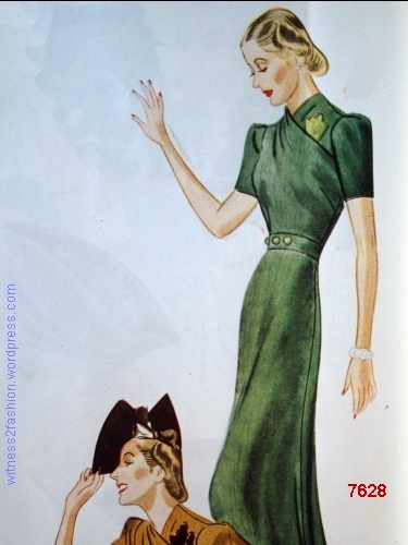 A long dinner-dress version of Companion-Butterick 7628. WHC Nov. 1937.