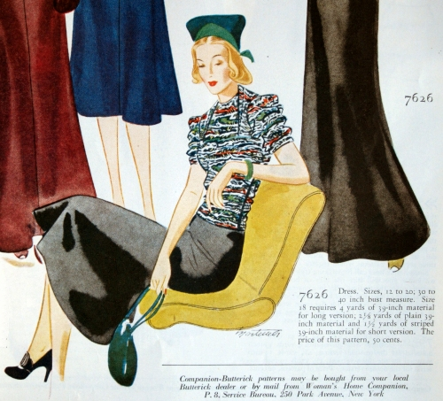 Daytime version of Companion Butterick 7626. WHC, Nov. 1937.