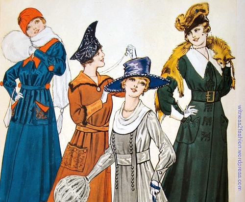 Detail, Jan. 1917, Ddelineator. The red and blue dress has embroidered pockets.