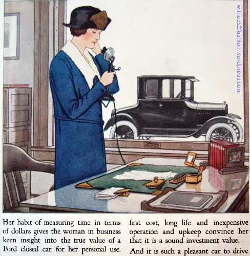"April 1924 Ford Ad for Closed Car.  Delineator. A ""Woman in Business."""