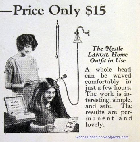 "A Nestle Home Permanent Machine, ""Price only $15"" in December, 1924. Delineator."