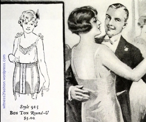 """The short, stout woman can very rarely wear a shingle; she needs a ""thatch."" Corset ad, Dec 1924. Delineator."