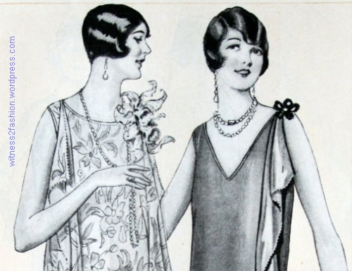 """The friendliest shingle is to have it cut long on the sides so as to cover the ears. . . . A lovely little sloping curve from behind the ear down to the sharp little point."" Two pattern illustration modesl from May, 1925. Butterick's Delineator magazine."