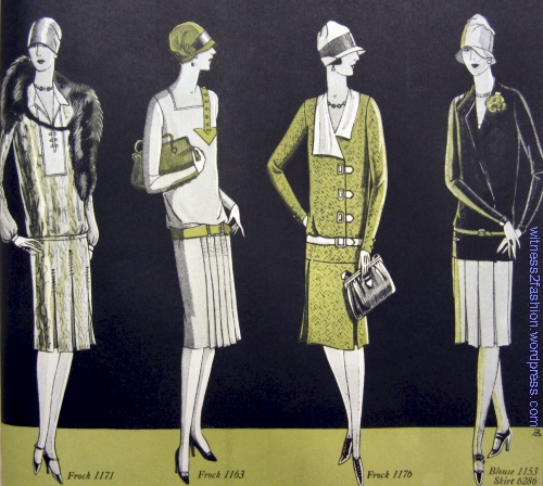 Four Butterick designs from December 1926. Delineator, page. 43.