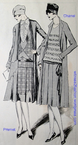On the right, a Chanel ensemble from July 1926, drawn by Soulie for Delinator magazine. The ensemble on the left is by Premet.