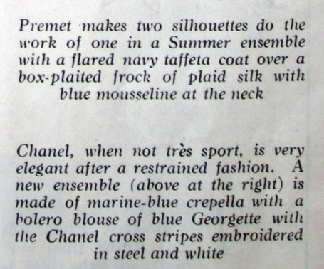 Text describing the ensembles by Premet and Chanel. Delineator, July 1926.
