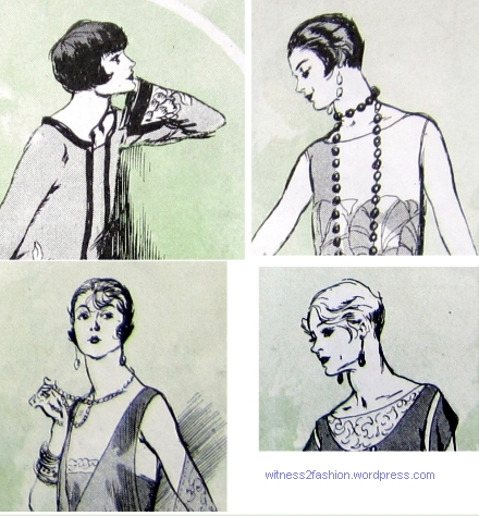 Four Paris models sketched by Soulie, Delineator, January 1925.
