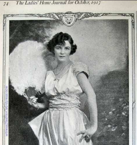 Irene Castle, with bobbed hair, endorsing Corticelli  Silk in this advertisement from Ladies' Home Journal, October 1917.