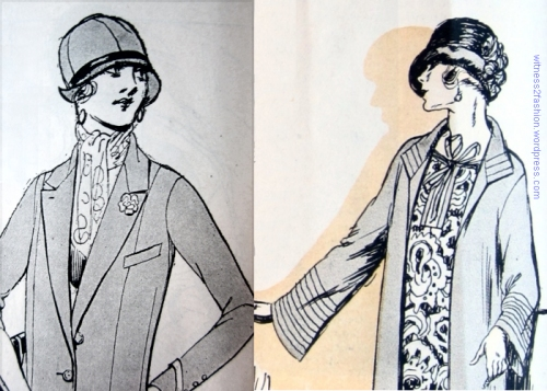 Two hats -- with wisps of hair showing at the cheeks. February 1924, Delineator.