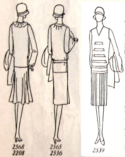 Alternate views of blouse 2568 & skirt 2208, blouse 2565 & suit 2536, and dress 2539.