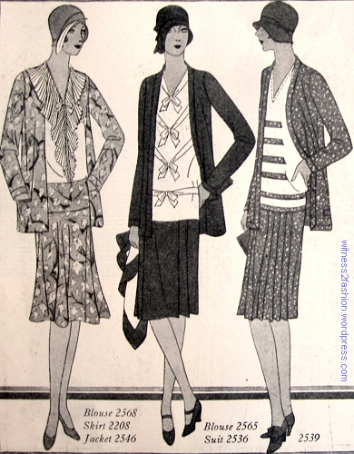 Left, blouse #2568, skirt # 2208, jacket # 2546. Center,  blouse #2565 with suit #2536. Right, frock and jacket ensemble # 2539. Butterick patterns, April 1929.