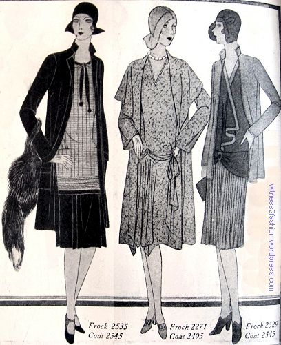 Left, frock #2535 with coat #2545. Center, frock #2271 with coat #2495. Right, coat # 2545 again with frock #2539. Butterick patterns from 1929.