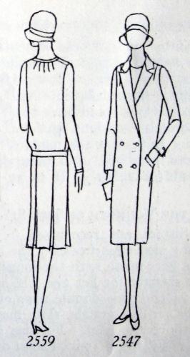 Alternate views, dress #2559 and reefer coat #2547. Butterick, 1929.