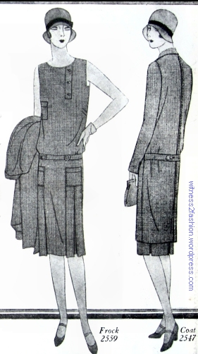 Butterick dress pattern #2559 and coat pattern #2547. 1929.