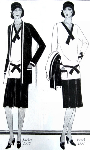 Jacket #2530 worn with Frock #2551. Butterick, 1929.