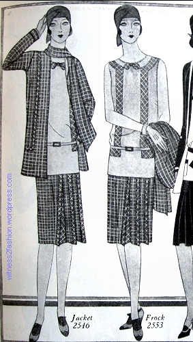 Jacket #2546 and frock #2553. Butterick, April 1929.