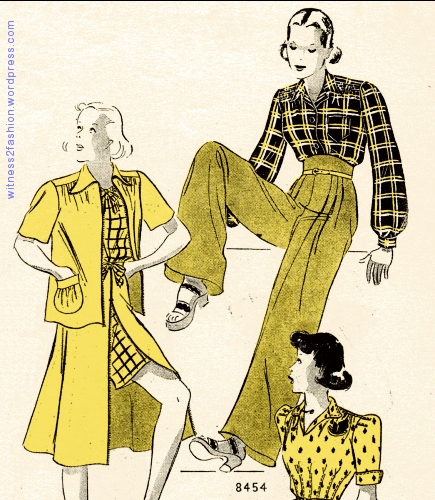 Butterick trouser pattern , July 1939.