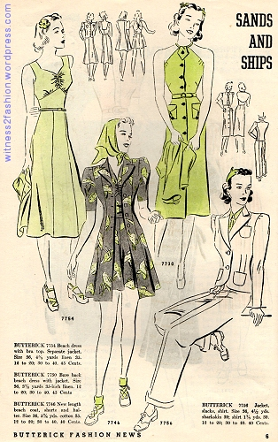 Play dresses and a pants suit, Butterick Fashion News flyer, March 1938.