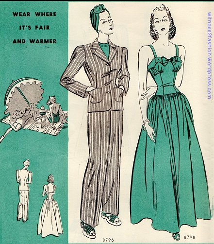 Butterick pants suit 8796, February 1940.
