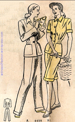Butterick slack suit with optional long shorts. March 1948.