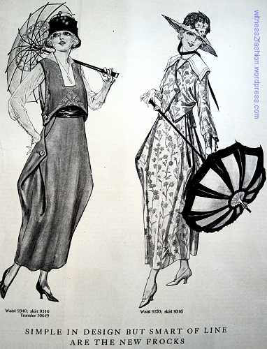 Butterick dress patterns 9340 and 9316; Delineator, Aug. 1917.