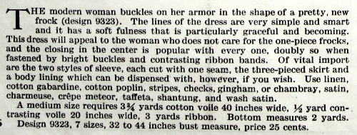 Description of Butterick pattern 9323; Delineator, Aug. 1917.