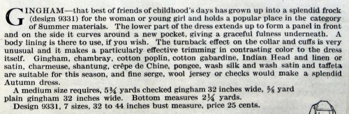 Description of Butterick pattern 9331, Aug. 1917.