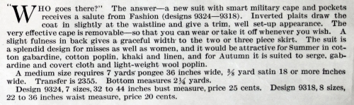 Description of Butterick patterns 9324 adn 9318; Delineator, Aug. 1917.