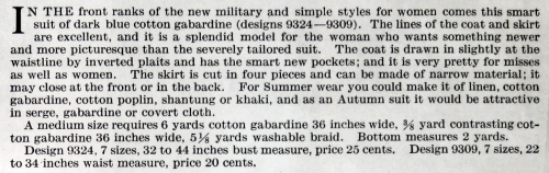 Description of Butterick coat 9324 and skirt 9309, Aug. 1917.